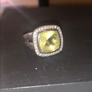 David yurman Albion Ring Prasiolite +Diamonds 11mm